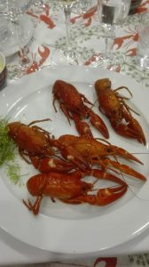 Cooked crayfish on a dish