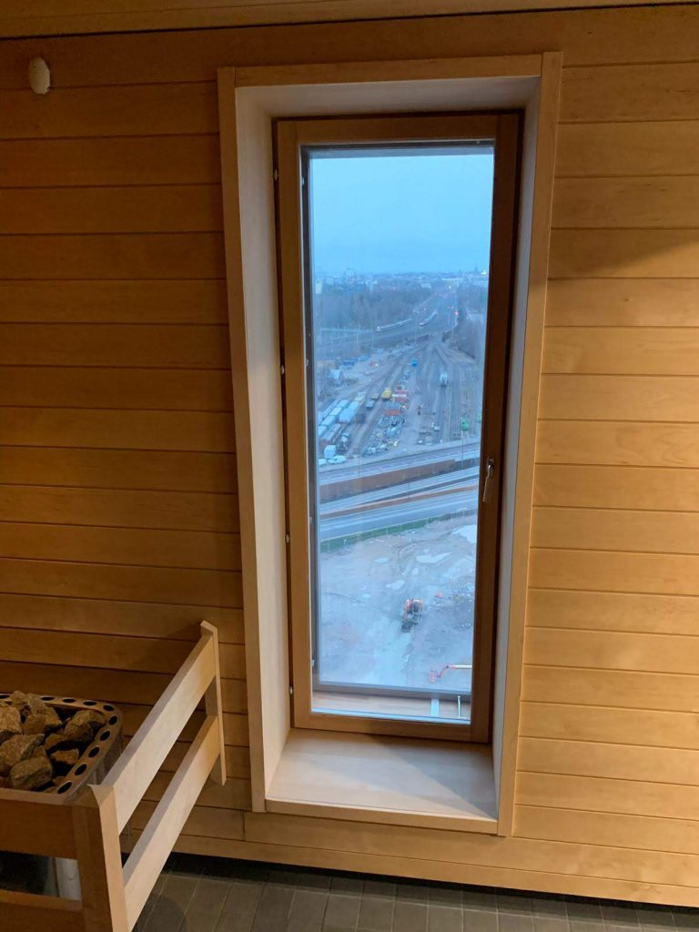 sauna in an apartment building in Finland