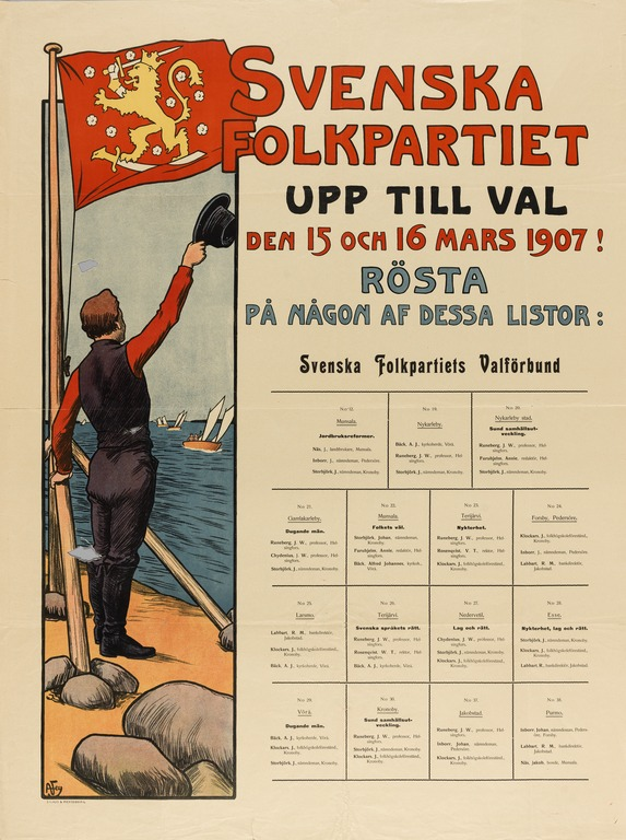 An election posted of the Swedish People's Party from 1907.