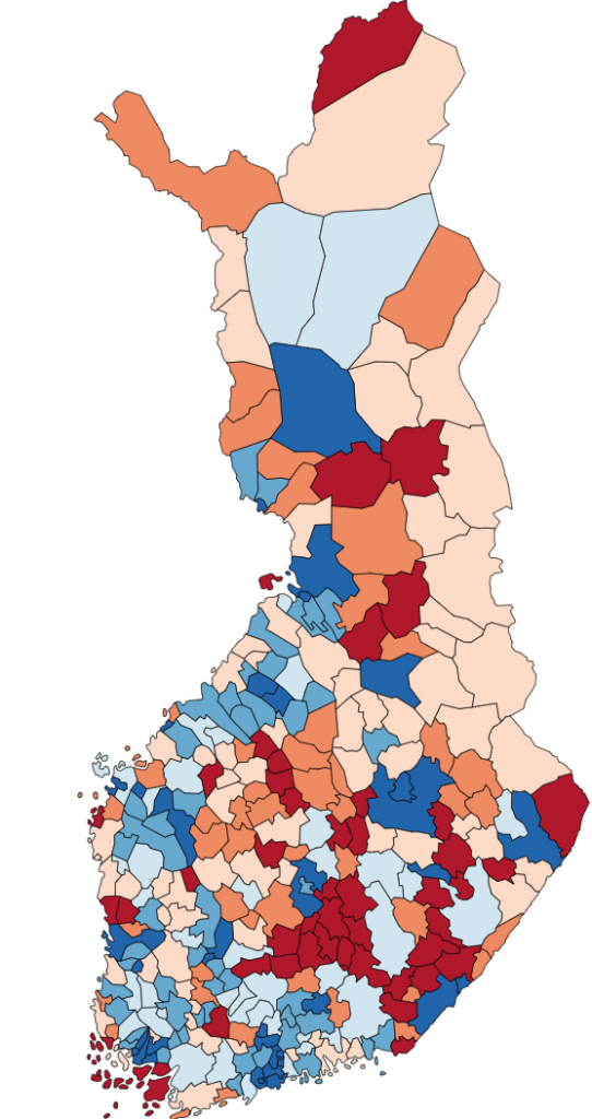Map of Finland showing the Midsummer Coefficients of Finnish municipalities
